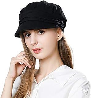 Fityle Women Warm Wool Beret Visor Newsboy Hat PU Leather Bakerboy Cabbie Flat Cap Black