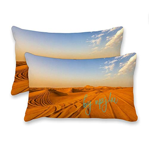 happygoluck1y Sky And Desert Sand View Rectangle Cushion Covers 30x50 Set of 2 Decorative Farmhouse Pillow Case for Sofa and Couch