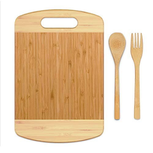 BamBoo Cutting Board - [3 Piece Set] Eco-Friendly Small Chopping Boards for Kitchen,Organic Bamboo Butcher Block and Serving Tray for Meat and Vegetables (12x8 Inch)
