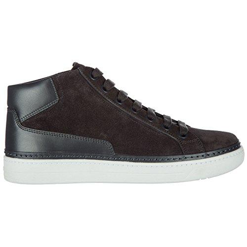 Prada scarpe sneakers alte uomo in camoscio nuove grigio