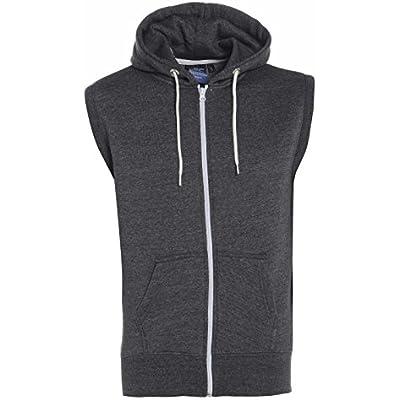New Men/'s Boys Sleeveless Plain Zipper Gilet Hooded Sweatshirt Hoody