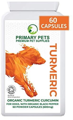 Organic Turmeric for Dogs with Curcumin. Pack of 60 600mg Powder Capsules. Hip and Joint Supplement for Dogs. With Organic Black Pepper Extract. 12000mg Equivalent