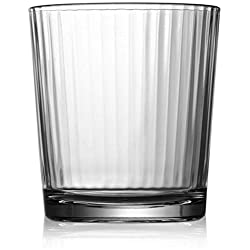 Circleware Hill Street Set of 4-12.5 oz Heavy Base Whiskey Glasses Drinking Glassware, Party Beverage Cups for Water, Liquor, Cocktails, Beer, Ice Tea, Juice, Gifts, 4pc DOF, Spectrum