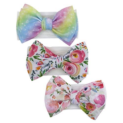 Lurrose 3 unids Bowknot diademas moño moño suave moño turbantes arco accesorios para el pelo para niñas colores surtidos