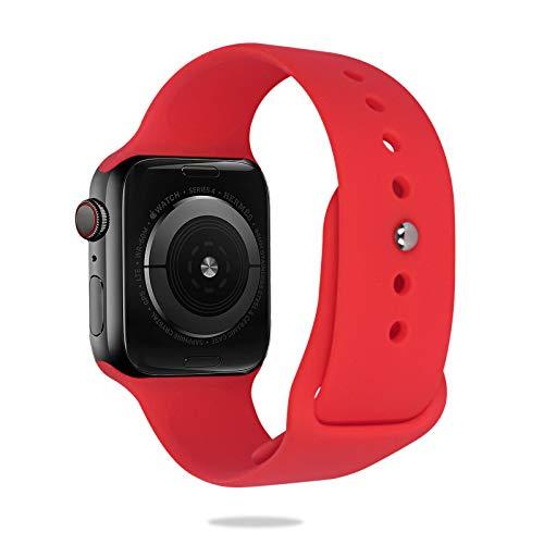 AOTUAO Correa de Repuesto Compatible con Apple Watch de 42mm/44mm, Correa de Reemplazo Deportiva de Silicona Suave Compatible con Apple Watch SE iWatch Series6/5/4/3/2/1, M/L, Rojo