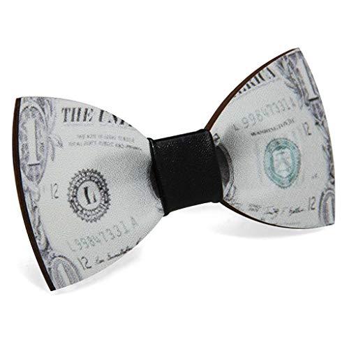 Creative Poker - Pajarita de madera con diseño de letras de dólar para hombre o niño, accesorio de lazo ajustable para fiesta de boda, 10