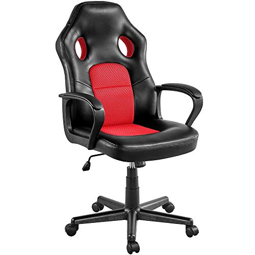 Yaheetech Office Chair Computer Desk Chair Ergonomic Leather Racing Chair Executive Swivel Chair for Home Office Study or Work Red