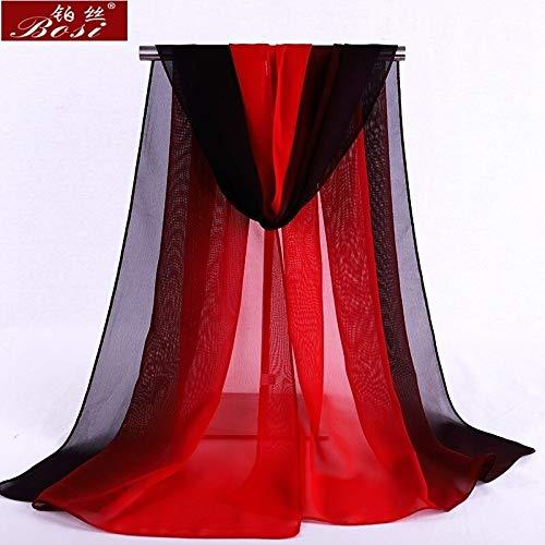HVTKL sjaal chiffon gegradieerde vrouwen Hijab winter merk herfst rood lange sjaal poncho dames sjaal sjaal lange Hijab Luxe