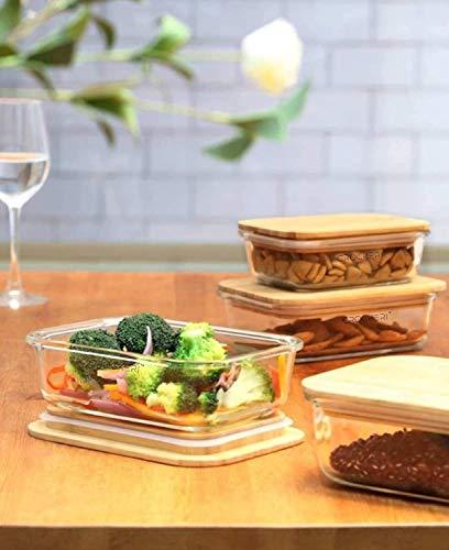 CROCKERI Recipientes de vidrio con tapa hermética de madera | Juego de recipientes rectangulares para cocina frigorífico | tarros multiusos (paquete de 2 (370 ml + 670 ml)