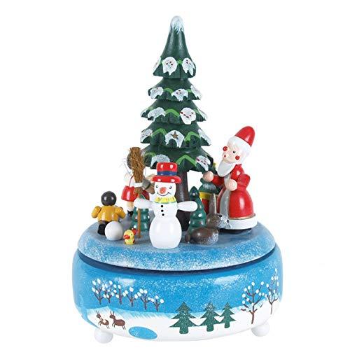OBC Spieluhr Winterlandschaft bunt 21cm, Weihnachtslied Oh Tannenbaum/Spieldose Holz Handbemalt Erzgebirge-Stil/Deko Advent & Weihnachten