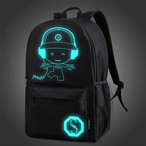 Mochilas escolares fluorescentes de anime para niños y niñas, lona informal liviana, mochila para computadora de dibujos animados de 15.6 pulgadas, con puerto de carga USB, bolsa de almuerzo y estuch