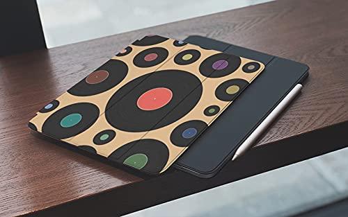 MEMETARO Funda para iPad (9,7 Pulgadas 2018/2017 Modelo), Música Colorida DJ Vinilo Disco Retro Vintage Fonógrafo Patrón Grabar Acústica Álbum Smart Leather Stand Cover with Auto Wake/Sleep