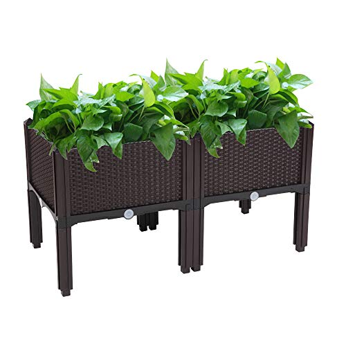 Mytunes Raised Garden Bed, Free Splicing Planters Boxes Kit Plant Grow Box for Vegetables Fruits Herb Grow,Patio or Yard Gardening (Brown,2 Pcs)
