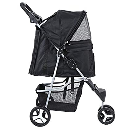 Yonntech Pet Travel Stroller Foldable Cat Dog Pushchair Trolley Puppy Jogger Buggy Dog Carrier Maximum Weight 15Kg with Cup Holders Storage Basket Three Wheels (Black) 2