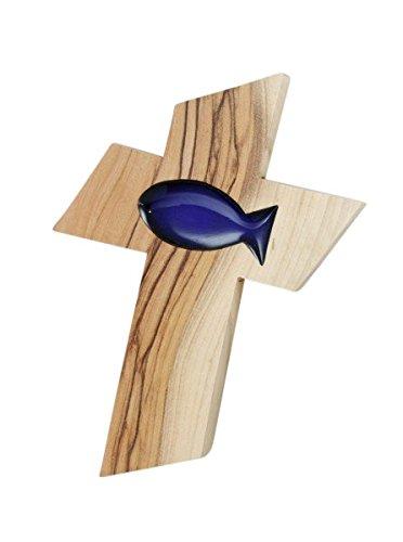 Holzkreuz Olivenholz Fischeinlage blau 13 cm