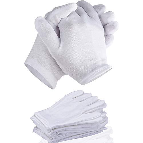 12pcs Inspektionshandschuhe,Care Baumwollhandschuhe,Stoff Handschuhe Weiss,Baumwollhandschuhe weiche,Baumwollhandschuhe weiß,Cotton Gloves,Weiße Handschuhe Baumwolle,Bequem und Atmungsaktiv
