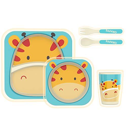 H HOMEWINS Vajilla infantil de 5 piezas hecha de bambú: plato, cuenco, cuchara, tenedor, taza, cubertería infantil sin BPA, juego de vajilla ecológica para bebés pequeños (Jirafa)