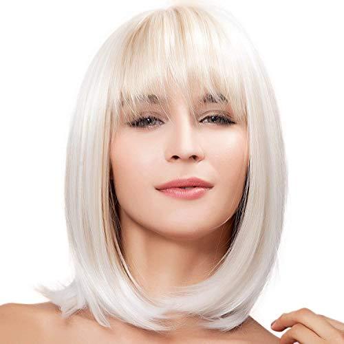 Perruque cheveux courts raides, blonds et ultra naturels, style coupe au carré, résistante à la chaleur
