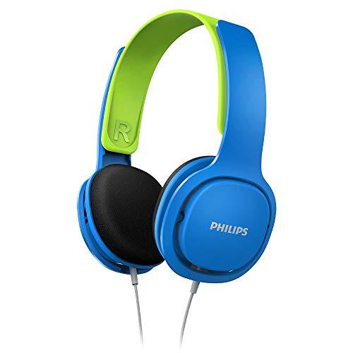 Philips SHK2000 - Auriculares de Diadema Cerrados (Control remoto integrado, 3.5 mm, 85 dB), Azul y verde