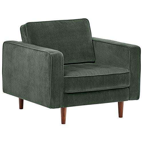 "Amazon Brand – Rivet Aiden Mid-Century Modern Tufted Velvet Accent Chair (35.4""W) - Hunter Green"