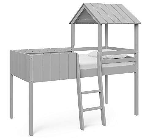 Home Detail Childrens Cabin Bed Frame Single Mid-Sleeper with Treehouse Canopy & Ladder