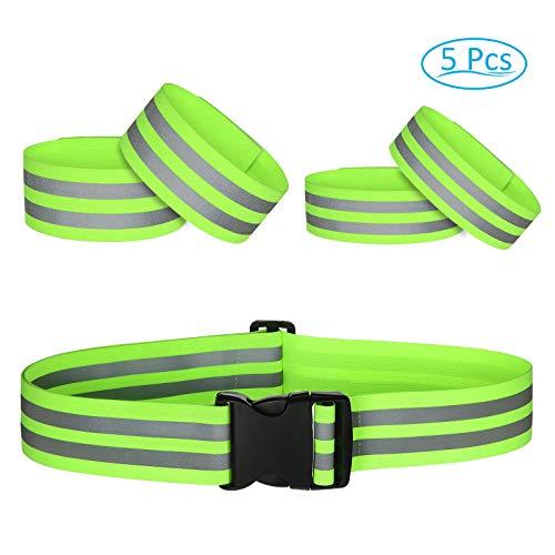 PATAZOK 5 stks Hoge Zichtbaarheid Reflecterende Riemen Verstelbare Veiligheid Gear Elastische Streep Armbanden Taille Enkelband voor Nacht Outdoor Running Fietsen Motorfiets Hond Wandelen (Fluorescerend Groen)
