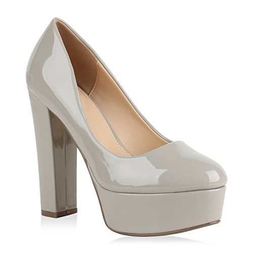 Damen Plateau Pumps Lack High Heels Party Schuhe Plateauschuhe 154451 Grau Avion 37 Flandell