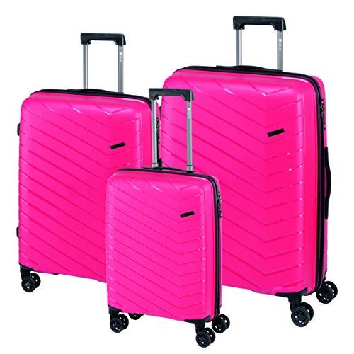 Check in Orlando - Juego de 3 Maletas con Ruedas, Color Rosa