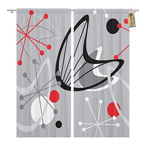 Golee Window Curtain Gray Mid Century Modern 1950 Vintage Retro Atomic Pattern Home Decor Pocket Drapes 2 Panels Curtain 104 x 63 inches