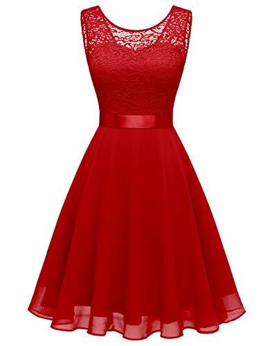 BeryLove Women Short Floral Lace Bridesmaid Dress Vintage Cocktail Party Swing Dress BLP7005RedS