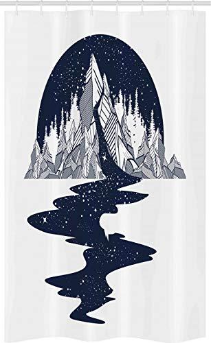ABAKUHAUS Blauw en wit Douchegordijn, River Mountain, voor Douchecabine Stoffen Badkamer Decoratie Set met Ophangringen, 120 x 180 cm, Dark Blue and White