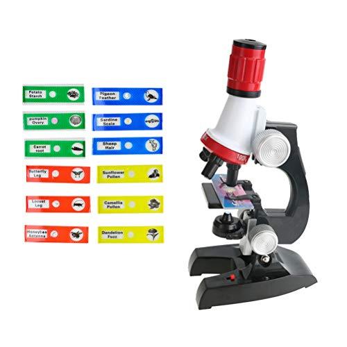 Toyvian microscopio para niños 100x / 400x / 1200x Establece a los niños un Desarrollo temprano de Ciencias biológicas Juguete Educativo sin batería (microscopio + 12 muestras)