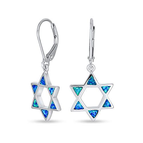 Created Blue Opal Religious Magen Judaic Jewish Hanukkah Star Of David Leverback Dangle Earrings For Women For Bat Mitzvah 925 Sterling Silver