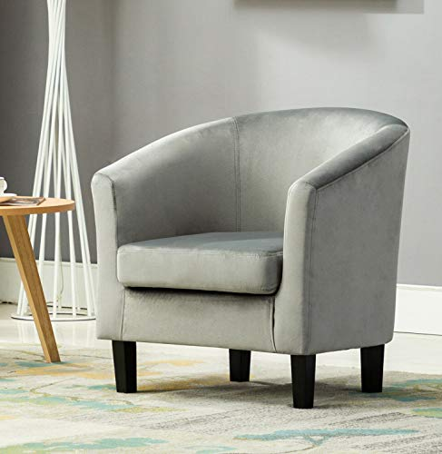 Velevt Fabric Tub Chair Armchair club Chair for Dining Living Room & Cafe (Grey)