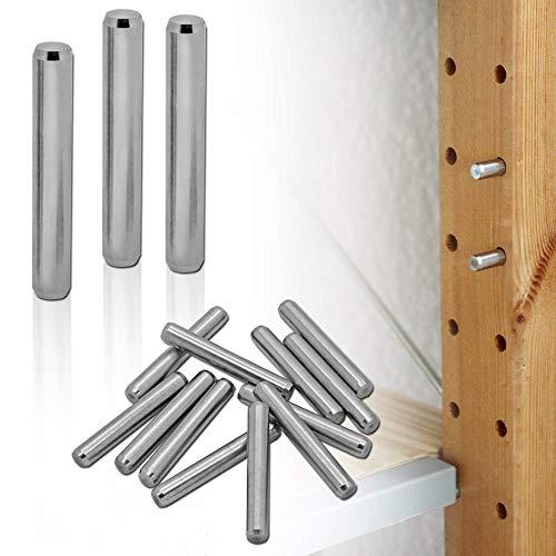 tumundo Regalbodenhalter für IKEA Ivar Stifte Bolzen Boden-Träger Dübel Schrank Einlegeboden Garten Set 4-48 Stück Edelstahl, Menge:20 Stück