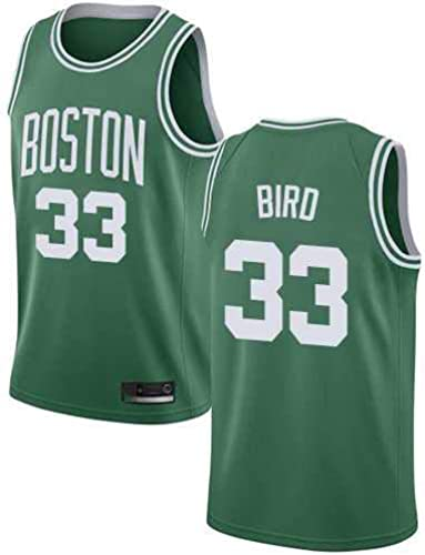 ATI NICE Maillots Hommes, Boston Celtics   33 Larry Bird Ancien Gilet sans Manches Uniforme De Basket-Ball Maillot Swinghomme Basketball en Résille,XL 180cm185cm