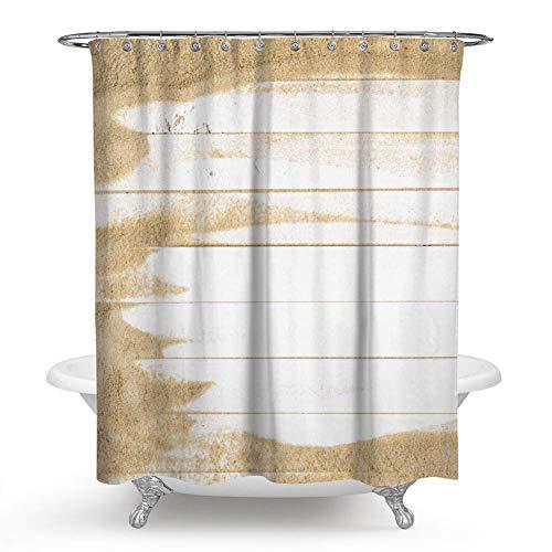 Dress Rei Holz-Duschvorhang, sandfarben auf weißem Holz, Landhausstil, Duschvorhang-Set mit Haken für Badezimmer-Dekoration, Weiß / Gelb, Polyester, mehrfarbig, 150 x 180 cm