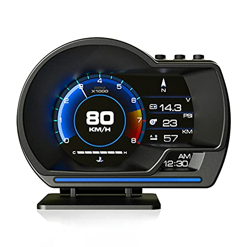 AkaBane HUD Car Head-up Display, GPS + OBD2 Dual System Gauge Display, Odometer, Tachometer, Turbo Meter, Water Temperature Gauge, Vehicle Fault Diagnostic Machine, ECU Data Abnormal Alarm Function