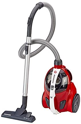 Hoover Sprint Evo SE51 - Aspirador cable sin bolsa, Ciclónico, Cepillos especiales parquet, suelos duros y alfombras, Filtro EPA, 700W, Depósito 1,5L, 80dBA, Cable 7,5m, Plástico, Rojo
