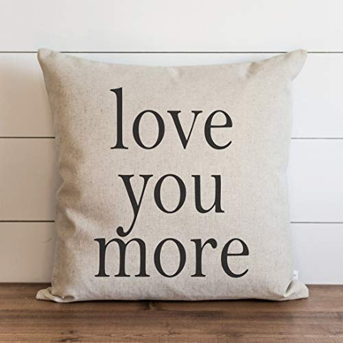 Promini Love You More Pillow Cover Everyday Anniversary Wedding Throw Pillow Cushion Cover Gift for Them Accent Pillow Case Pillowcase for Sofa Home Decor 20 x 20 Inches