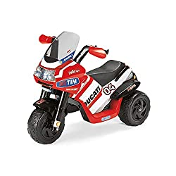 The Peg Perego Desmodesci Evo Electric motortrike is a fun and exciting ride on toy for your kids Made for easy and safe riding, this 6V electric trike has 1 wheel drive, an accelerator/brake pedal 9km/h With a LED light up electronic dash button, mo...