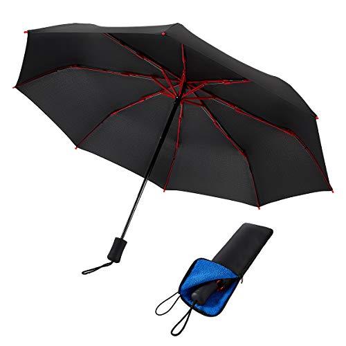 【昇級版】265g おりたたみ傘 メンズ 軽量 大きい 丈夫な 折りたたみ傘 手動開閉 コンパクト 8本骨 レディース FASAZ 折畳み傘 晴雨兼用 Teflon超撥水 カバー付き ブラック(新版)