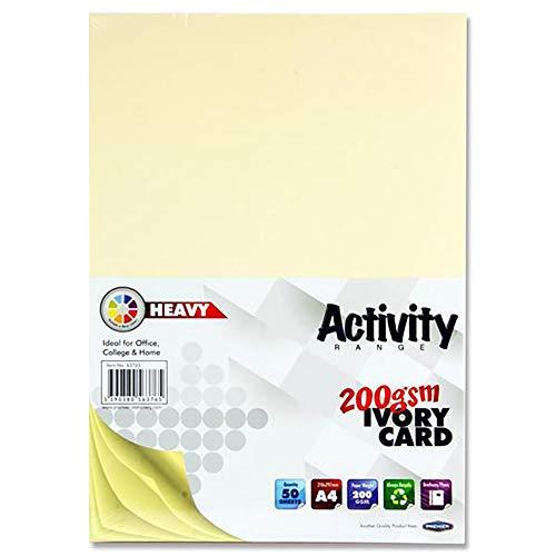 Bastelkarten in A4-Format mit 200 g/m² von Premier Stationery–Elfenbein (Packung aus 50Stück/Blatt)