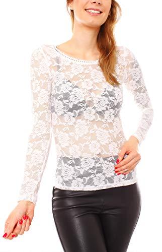 Easy Young Fashion Damen Langarmshirt Spitze Transparent Netz Unterhemd Skiny Spitzenshirt mit Blumen Muster One Size Creme
