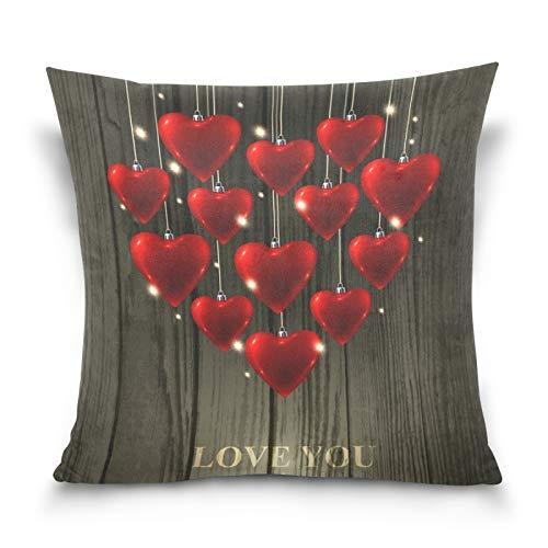 Ahomy Fundas de almohada decorativas para el día de San Valentín, diseño de corazón y corazón, para sofá, coche, dormitorio, 50,8 x 50,8 cm