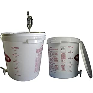 Fermentation bucket, 30 L, for beer or wine, with drain cock and fermentation tube:Carsblog