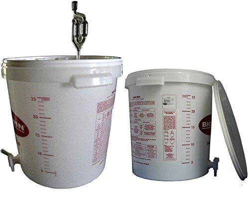 lilawelt24 Gärbehälter Gäreimer 30L für Bier oder Wein mit Ablasshahn und Gärröhrchen