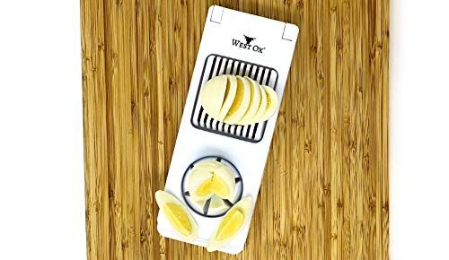West Ox 2-in-1 Egg Slicer   Stainless Steel Sharp Blades & BPA Free Plastic Body   Easy Egg Slicing with a Simple Push