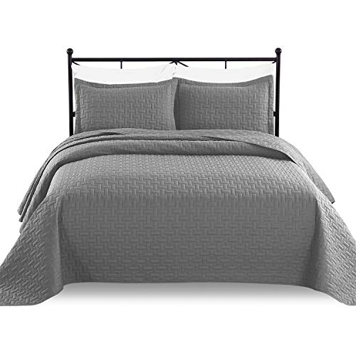 Luxe Bedding 3-Piece Oversized Quilted Bedspread Coverlet Set (King Size/California King, Gray)