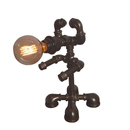 ZZSJC Roboter Tischleuchten Antike Retro Industrie Wasserpfeife Metall Schreibtischlampen Nachttisch Nachttisch Cafe Bar Geschenk Mit Schalter Am Kabel E27